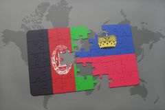 Puzzle with the national flag of afghanistan and liechtenstein on a world map background. Stock Photography