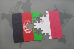 Puzzle with the national flag of afghanistan and malta on a world map background. 3D illustration Stock Photos