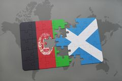 Puzzle with the national flag of afghanistan and scotland on a world map background. 3D illustration Royalty Free Stock Photos