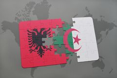Puzzle with the national flag of albania and algeria on a world map. Background. 3D illustration royalty free stock image