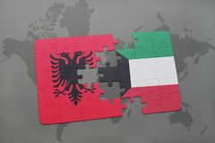 Puzzle with the national flag of albania and kuwait on a world map. Background. 3D illustration royalty free stock images