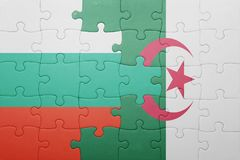 puzzle with the national flag of algeria and bulgaria Stock Image