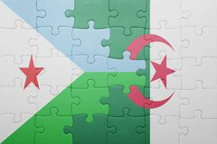 Puzzle with the national flag of algeria and djibouti Royalty Free Stock Photography