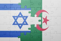 Puzzle with the national flag of algeria and israel Stock Photos