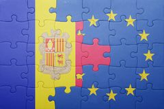 Puzzle with the national flag of andorra and european union Royalty Free Stock Image