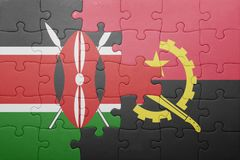 Puzzle with the national flag of angola and kenya. Concept stock image