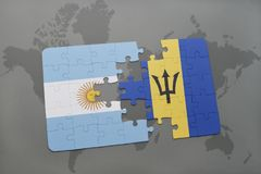 Puzzle with the national flag of argentina and barbados on a world map background. Stock Photo