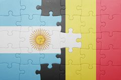 Puzzle with the national flag of argentina and belgium Stock Photography