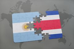 Puzzle with the national flag of argentina and costa rica on a world map background. Royalty Free Stock Photos