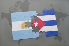 Puzzle with the national flag of argentina and cuba on a world map background. Stock Photos