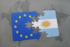 Puzzle with the national flag of argentina and european union on a world map Royalty Free Stock Photos