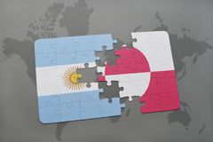 Puzzle with the national flag of argentina and greenland on a world map background. Stock Photo