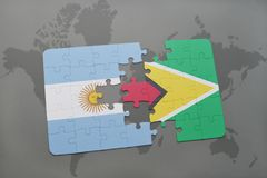 Puzzle with the national flag of argentina and guyana on a world map background. Stock Images