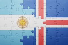 Puzzle with the national flag of argentina and iceland Royalty Free Stock Photo