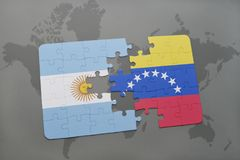 Puzzle with the national flag of argentina and venezuela on a world map background. Stock Photos