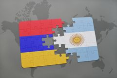 Puzzle with the national flag of armenia and argentina on a world map. Background. 3D illustration Royalty Free Stock Photography