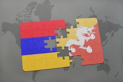 Puzzle with the national flag of armenia and bhutan on a world map. Background. 3D illustration Stock Photography