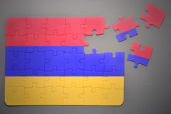 Puzzle with the national flag of armenia Stock Photography