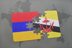 Puzzle with the national flag of armenia and brunei on a world map. Background. 3D illustration Stock Photos
