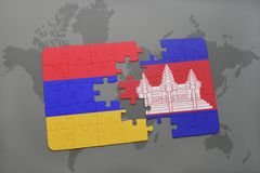 Puzzle with the national flag of armenia and cambodia on a world map. Background. 3D illustration Stock Images