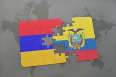 Puzzle with the national flag of armenia and ecuador on a world map Royalty Free Stock Image