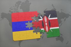 Puzzle with the national flag of armenia and kenya on a world map Stock Photography