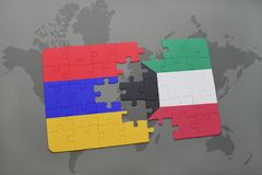 Puzzle with the national flag of armenia and kuwait on a world map Stock Photography