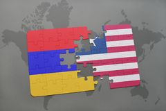 Puzzle with the national flag of armenia and liberia on a world map Stock Images