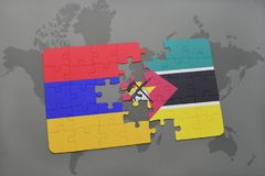 Puzzle with the national flag of armenia and mozambique on a world map. Background. 3D illustration Stock Photos