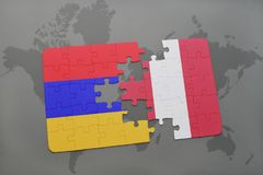 Puzzle with the national flag of armenia and peru on a world map Stock Photo