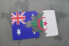 Puzzle with the national flag of australia and algeria on a world map background. Stock Photo