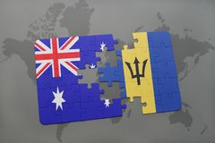 Puzzle with the national flag of australia and barbados on a world map background. Royalty Free Stock Photography