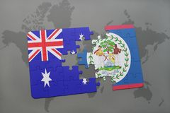 Puzzle with the national flag of australia and belize on a world map background. Stock Photography