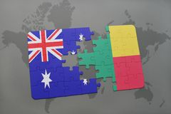 Puzzle with the national flag of australia and benin on a world map background. Stock Photography