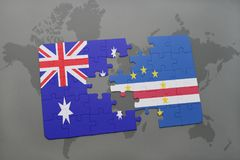 Puzzle with the national flag of australia and cape verde on a world map background. Royalty Free Stock Images