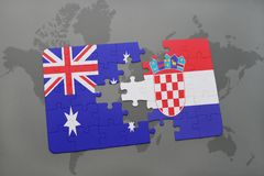 Puzzle with the national flag of australia and croatia on a world map background. Concept Stock Images