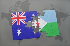Puzzle with the national flag of australia and djibouti on a world map background. Stock Photography