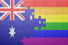Puzzle with the national flag of australia and gay flag. Concept Stock Images