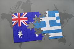 Puzzle with the national flag of australia and greece on a world map background. Concept royalty free stock images