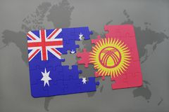 Puzzle with the national flag of australia and kyrgyzstan on a world map background. Stock Photos