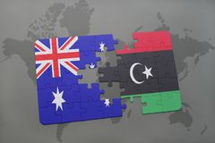 Puzzle with the national flag of australia and libya on a world map background. Stock Images