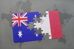 Puzzle with the national flag of australia and malta on a world map background. Stock Image