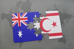 Puzzle with the national flag of australia and northern cyprus on a world map background. Stock Images