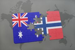 Puzzle with the national flag of australia and norway on a world map background. Concept Stock Image