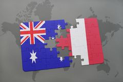 Puzzle with the national flag of australia and peru on a world map background. 3D illustration royalty free stock images