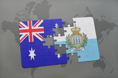 Puzzle with the national flag of australia and san marino on a world map background. Royalty Free Stock Photos