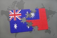 Puzzle with the national flag of australia and taiwan on a world map background. 3D illustration Royalty Free Stock Image