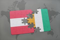 Puzzle with the national flag of austria and cote divoire on a world map background. 3D illustration Stock Photography