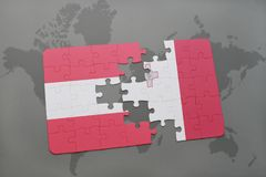 Puzzle with the national flag of austria and malta on a world map background. 3D illustration Stock Images