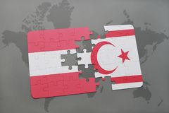 Puzzle with the national flag of austria and northern cyprus on a world map background. 3D illustration Stock Photo